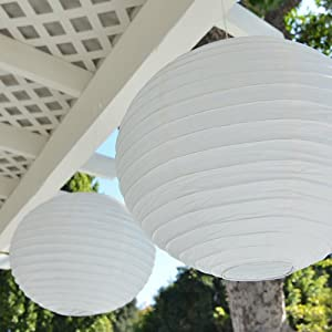 16-inch Asian Style Round Paper Lanterns - White (2 Per Pack)