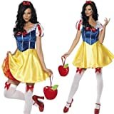 Ladies Sexy Snow White Disney Princess Fever Fairytale Halloween Fancy Dress Costume Outfit UK 4-18
