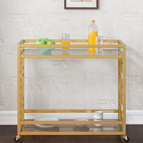 Retro Gold Tone Bar Cart Metal Serving Tray Table Coffee 2-Shelf Glass Kitchen Sofa Side Hall Entry 1