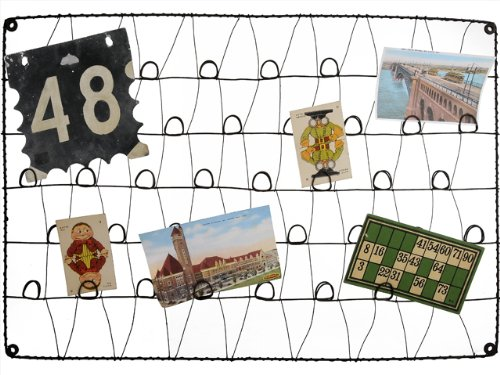 Image of Large Recycled Rusty Wire Wall Mounted Photo, Card Holder or Memory Board