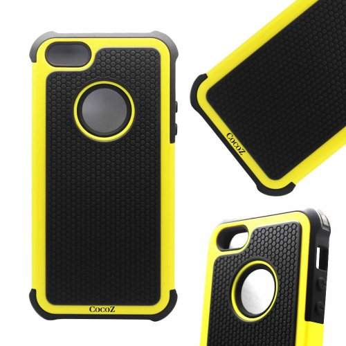 Cocoz® Yellow&black Hard Soft High Impact Armor Case Cover for Apple Iphone 5 - At&t Verizon Sprint Dust Stylus-hot (Lemon/black)-fs00275 at Amazon.com