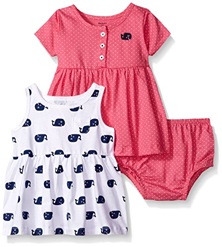 Gerber Baby Three-Piece Dress and Diaper Cover Set, Whales/Exclusive, 0-3 Months