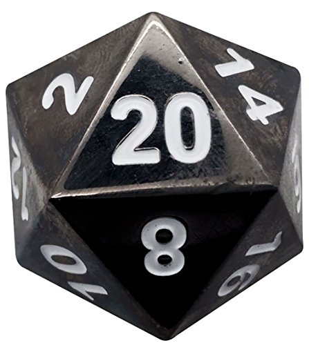 Custom & Unique {Jumbo Massive Huge XXL 45mm} 1 Ct Single Unit Set of 20 Sided [D20] Icosigon Shape Playing & Game Dice Made of Metal w/ Simple Classy Chrome Design [Black & White]