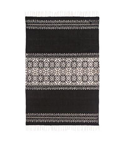 Concept Luxe tapijt Fringes wit / zwart