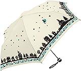 レディース 傘 月と猫 KISSA 55cm 折りたたみ傘 (オフホワイト)