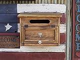 ポスト 横型 木製ひのき フラット開閉タイプ 〒マーク ステンシル 奥行き17cm 郵便受け アンティークブラウン 受注製作