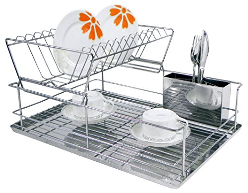 Home Basics 2-Tier Steel Dish Rack with Removable Utensil Cup (Stainless Dish Drying Rack compare prices)