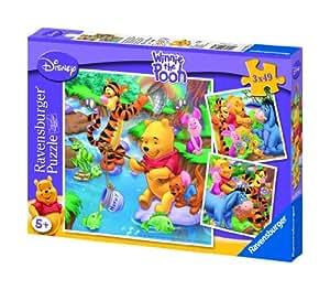 Ravensburger 09276 - Winnie the Pooh beim Angeln - 3x49 Teile Puzzle