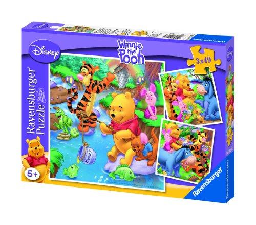 Ravensburger - 09276 - Puzzle Enfant - Winnie - Pêche à La Ligne - 3 x 49 Pièces