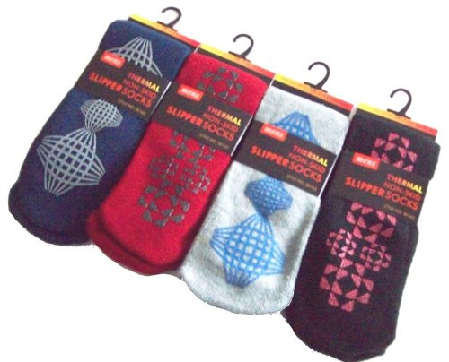 4 Pairs Mens Thermal Non Slip Grip Slipper Socks To Fit Shoe 6-11