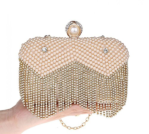 Womens Tassels Pearl Small Party Wedding Ring Clutch Handbag Chain Purse Bag