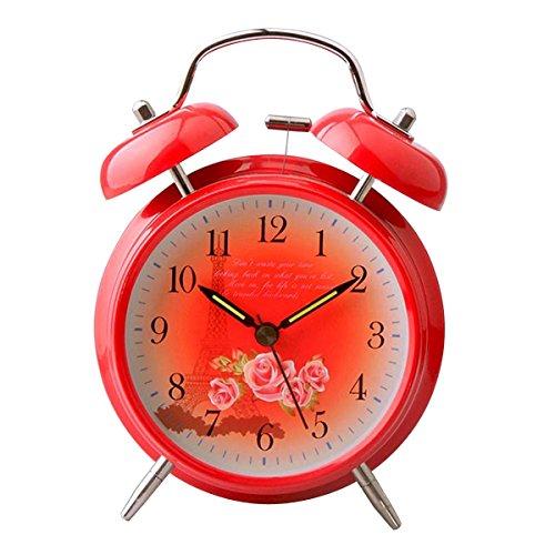 UQ Réveil matin Lumineux Rouge Rond Silencieux Double cloches La Tour Eiffel