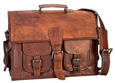 handolederco 38,1cm Vintage Sac à bandoulière pour ordinateur portable en cuir Sacoche Besace en cuir Serviette en cuir souple pour hommes et femmes