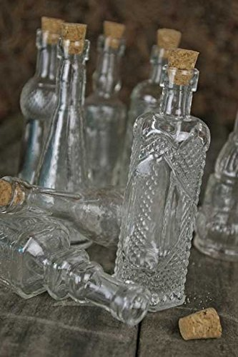Vintage Glass Bottles with Corks, Assorted, 5 inch, Set of 10, Clear 3