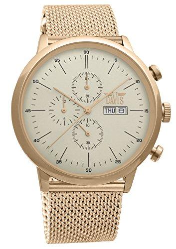 510baac2c867 Davis 1952MB-Reloj Hombre Retro Clásico Acero oro Rosa-Cronógrafo  Sumergible 50M-Dia