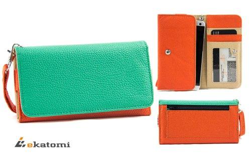 Orange | Green | Universal Women'S Wallet Wrist-Let Clutch For Apple Iphone 6 Phone Case. Bonus Ekatomi Screen Cleaner front-1070465