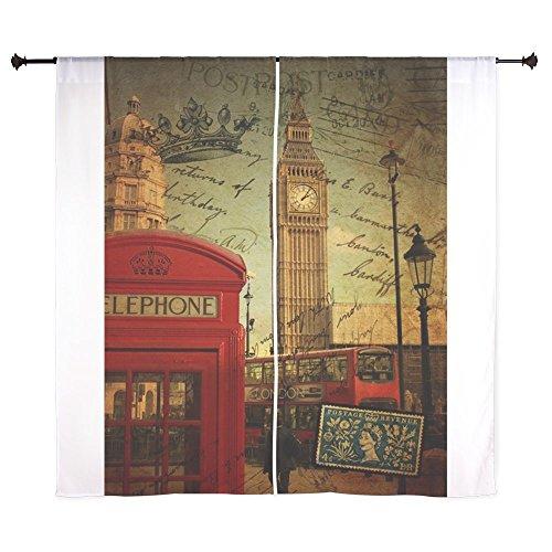 CafePress - London Landmark Red Telephone Booth Curtains - 60