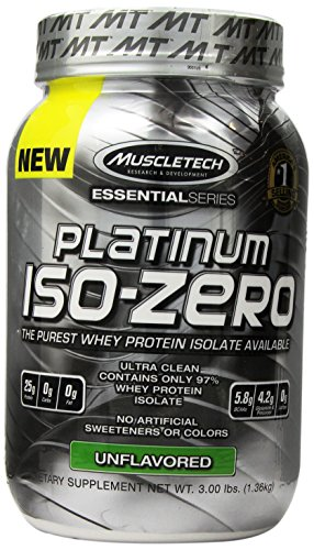 MuscleTech  Platinum  ISO Zero, The Purest Whey Protein Isolate Available, Unflavoured, 3.0 lbs (1.36kg) (Platinum Pre Workout Powder compare prices)