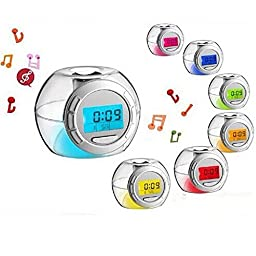 Gtt Led seven color allochroism small music alarm clock personalized dawdler spherical alarm clock luminous music digital alarm clock