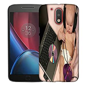 Snoogg Baby With Headset Designer Protective Back Case Cover For MOTOROLA G4 / G4 PLUS