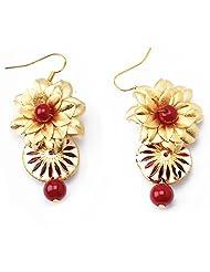 Aarya 24kt Gold Foil Flower Mina Drop Earring Dangler For Women - B00LBZRSQW