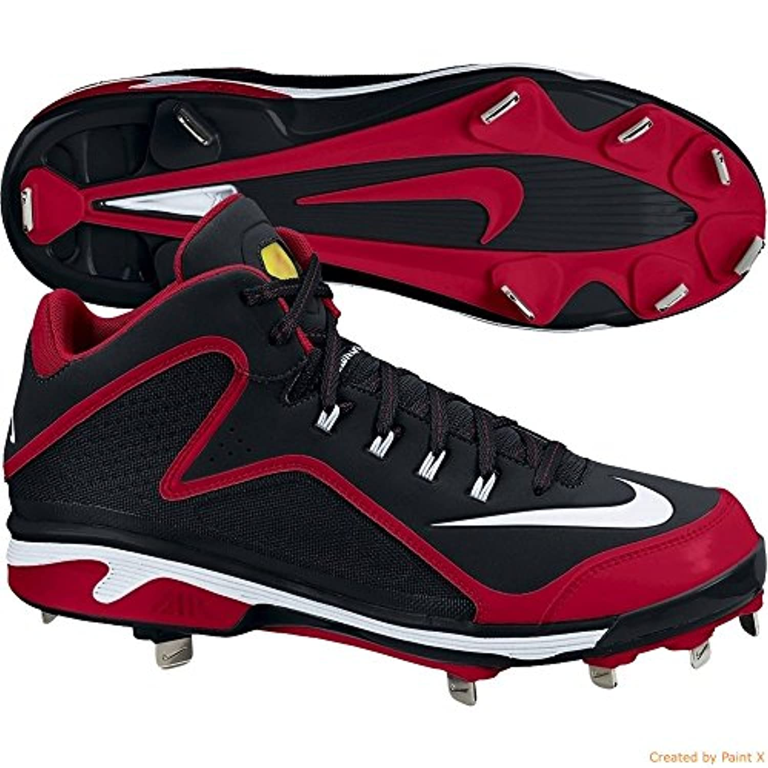 Nike Air Swingman MVP 2 MD Metal Baseball Cleat Black Red 13 Men's