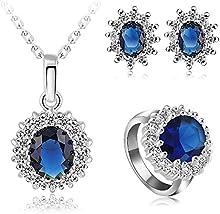 Comprar AnaZoz 18 K chapado en oro verdadero plateado platino juego // Zircon cúbico pendientes collar conjunto anillo