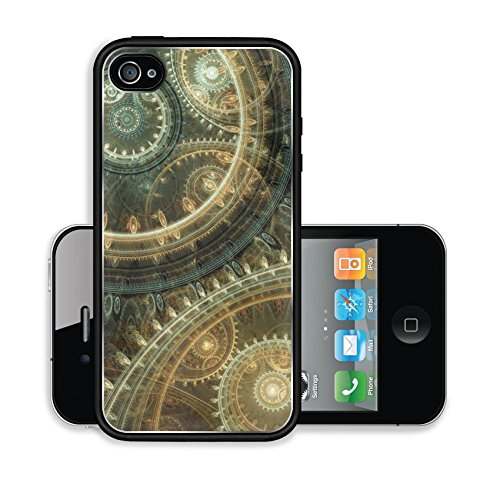 Liili Premium Apple iPhone 4 iPhone 4S Aluminum Snap Case Fantasy steampunk design abstract mechanical background made of fractal cogwheels IMAGE ID 35173265