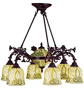 Meyda Tiffany Custom Lighting 27385 Seed Mosaic 8-Light Chandelier, Mahogany Bronze Finish with Green and Ivory Art Glass