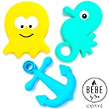 BEBE Teether Toys - Set of 3 - Under the Sea Collection - Silicone, Multi-texture, Large