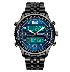 SKMEI Analog + Digital Multifunction Steel Watch- Blue Dial