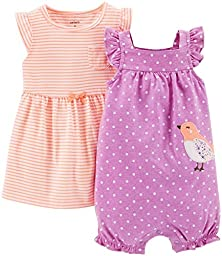 Carter\'s 2 Piece Dress & Romper Set (Baby) - Purple-6 Months