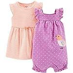 Carter's 2 Piece Dress & Romper Set (Baby) - Purple-6 Months