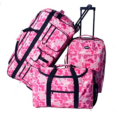 Small Shoulder Bag or Cabin Wheeled Case or Large Holdall or Luggage Set of 3