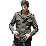 H.T.Niao Jacket8928C1 Men 's Fashionable Stand - up Jackets(Army Green,Size XXL)