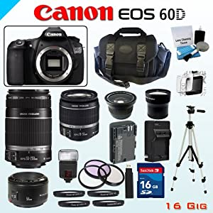 Canon 18MP EOS 60D Bundle - Includes Canon EF-S 18-55mm Lens - Canon EF-S 55-250mm f/4-5.6 IS Lens - Canon EF 50mm f/1.8 Lens - Wide Angle and Telephoto Zoom Lenses - 16GB SDHC Memory Card - USB Memory Card Reader - Spare LP-E6 Lithium Battery - 3 Piece Lens Filter Set - 4 Piece Macro Lens Kit - Digital Flash - Screen Protector - Lens Cleaning Kit - Full Size Tripod - Carrying Case