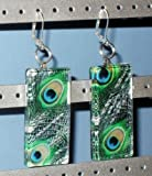 Peacock Rectangle Glass Tile Art Fashion Earrings