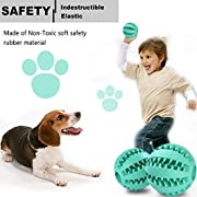 Toy Ball for Dogs [Dental Treat][Bite Resistant] Jakpopin Indestructible Non-Toxic Strong Tooth Cleaning Dog Toy Balls for Pet Training/Playing/Chewing,Soft Rubber,Bouncy,Tennis Ball Size 2.5 In,Mint