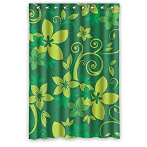 Popular Stylish Light Green Leaf Dark Green Background Shower Curtain New Waterproof