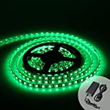 XKTTSUEERCRR Black PCB 16.4ft 5M SMD 5050 300LED Roll Green Color Waterproof(IP65) Flexible Strip Light - DC 12V For Outdoors Indoors Car Truck Mall Booth Stage House Decoration + DC Connector + 12V 5A Power Supply
