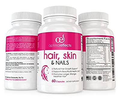 Hair Growth Formula for Longer, Stronger, Healthier Hair and Nails by Optimal Effects - Formulated with Biotin, Keratin, Niacin & More (60 Veggie Capsules)