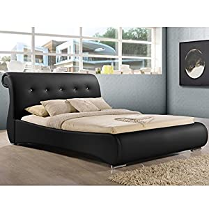 Amazon.com: Baxton Studio Pergamena Leather Contemporary Bed, King