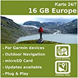 16 GB Europa Topo + Höhenlinien + Routenplanung - Für Garmin Dakota 20
