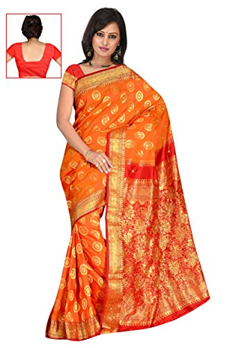 Sehgall Sarees Indian Bollywood Professional Rust Art Silk Woven Hand Embroidery Saree
