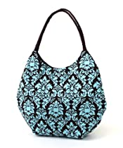 eThreads Brown and Teal Damask Cotton Large Round Tote
