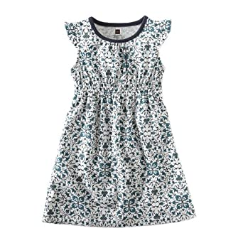 Tea Collection Girls Floral Vine Dress, Milk, 10