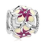 LovelyCharms Flower Charm Beads For European Bracelets (Purple)
