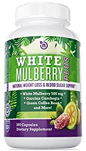 White Mulberry Leaf Extract with Pure Garcinia Cambogia Extract and Green Coffee Bean Extract - Powerful Diet Pills that Works for Women and Men - White Mulberry Leaf Extract 500mg Weight Loss Supplement - 180 NON GMO Vegetarian Safe Capsule by NutriGood Labs