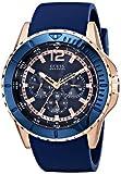 ゲス GUESS Men's U0485G1 Comfortable Rose Gold-Tone & Blue Silicone Multi-Function Watch 男性 メンズ 腕時計 【並行輸入品】