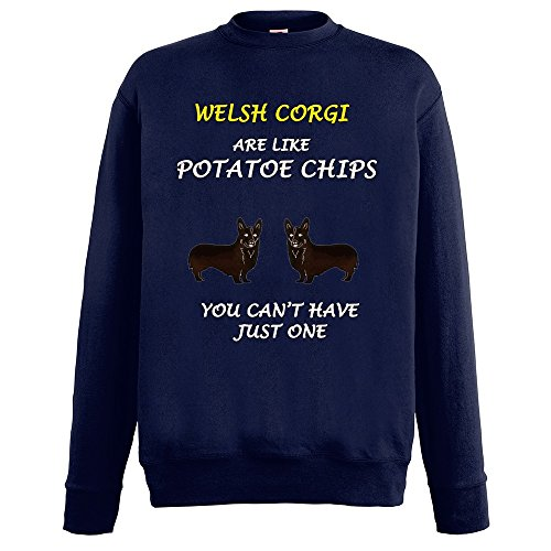 Dogs are like Chips Welsh Corgi, Blu Notte Fruit of the Loom Mens Sweatshirt Uomo (Mens Chip & Pepper)